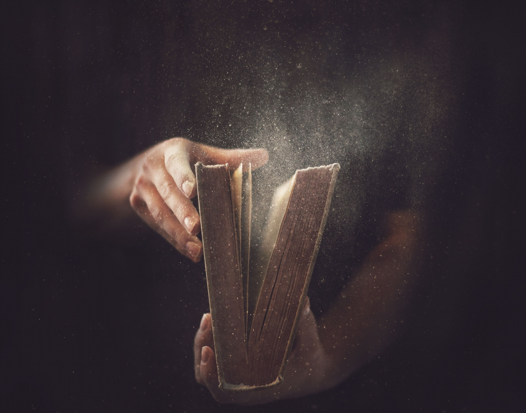 Old Book Hands Dust Desktop Wallpaper 2048x1607