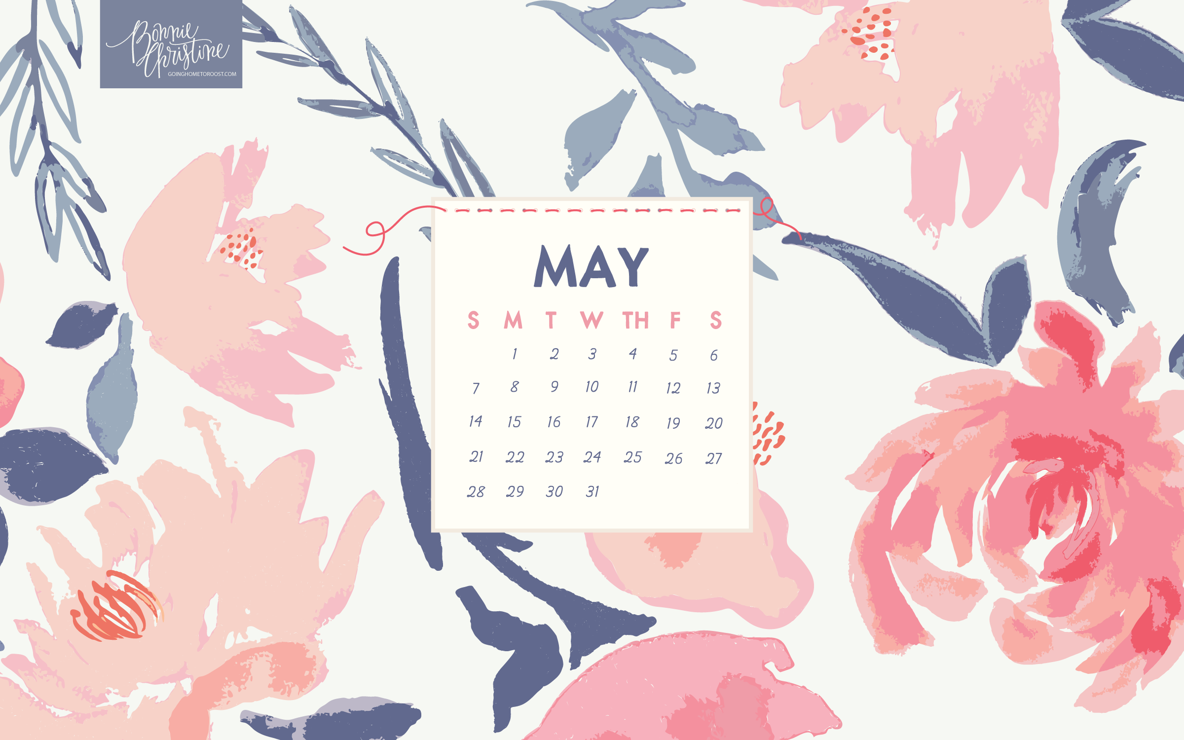 May 2019 Desktop Calendar Wallpaper 2400x1500