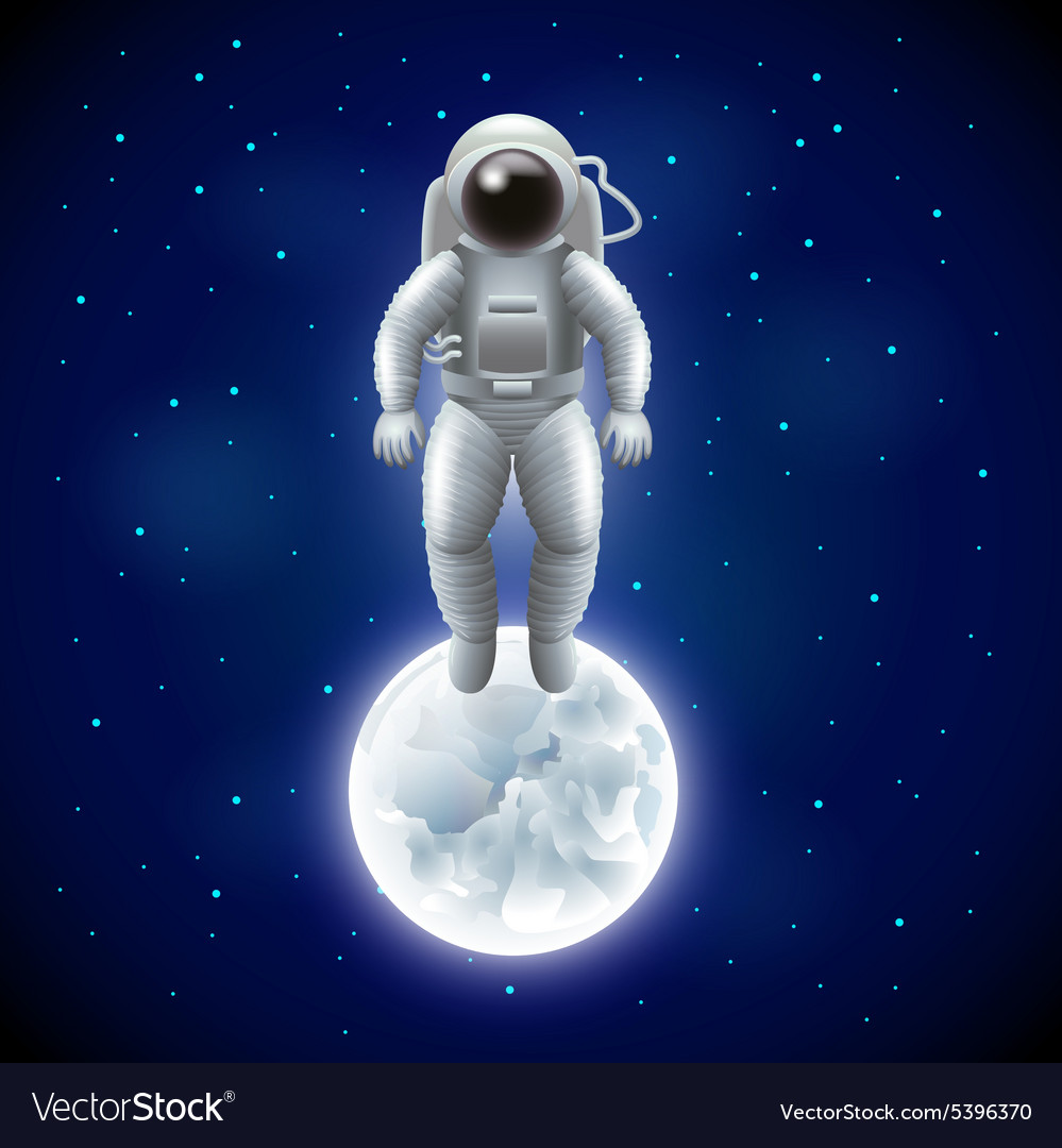 Astronaut and moon in space background Royalty Vector 999x1080