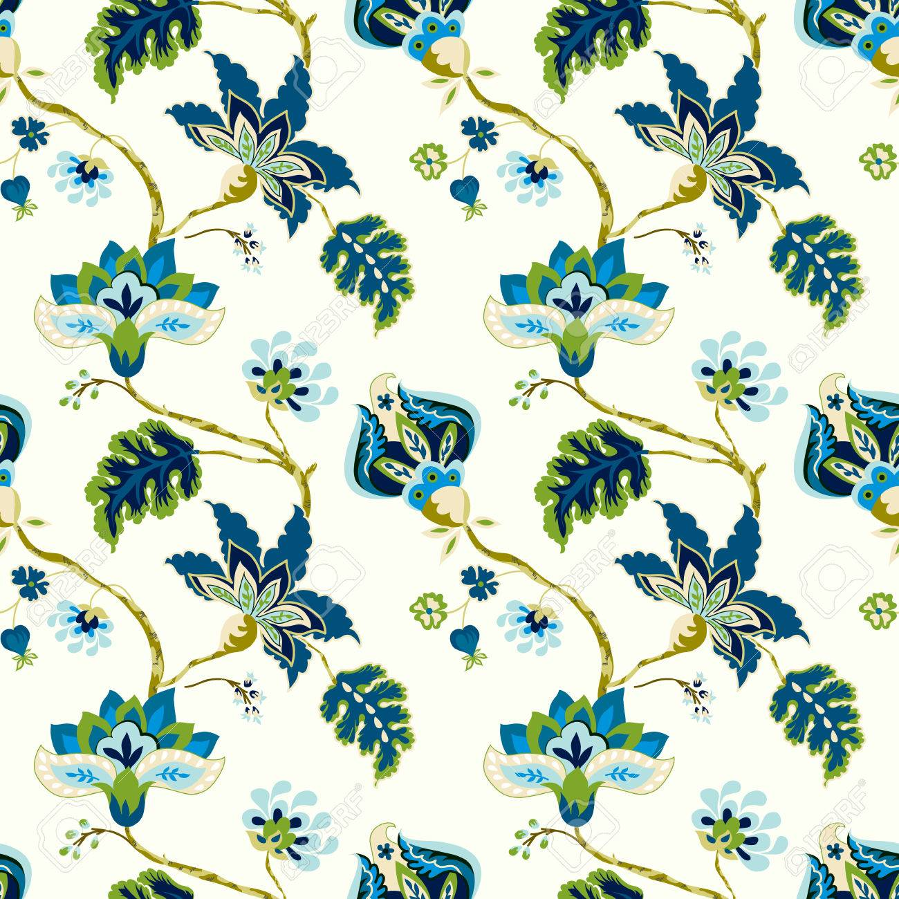 Seamless Pattern With Fantasy Flowers Whimsical Floral Jacobean 1300x1300