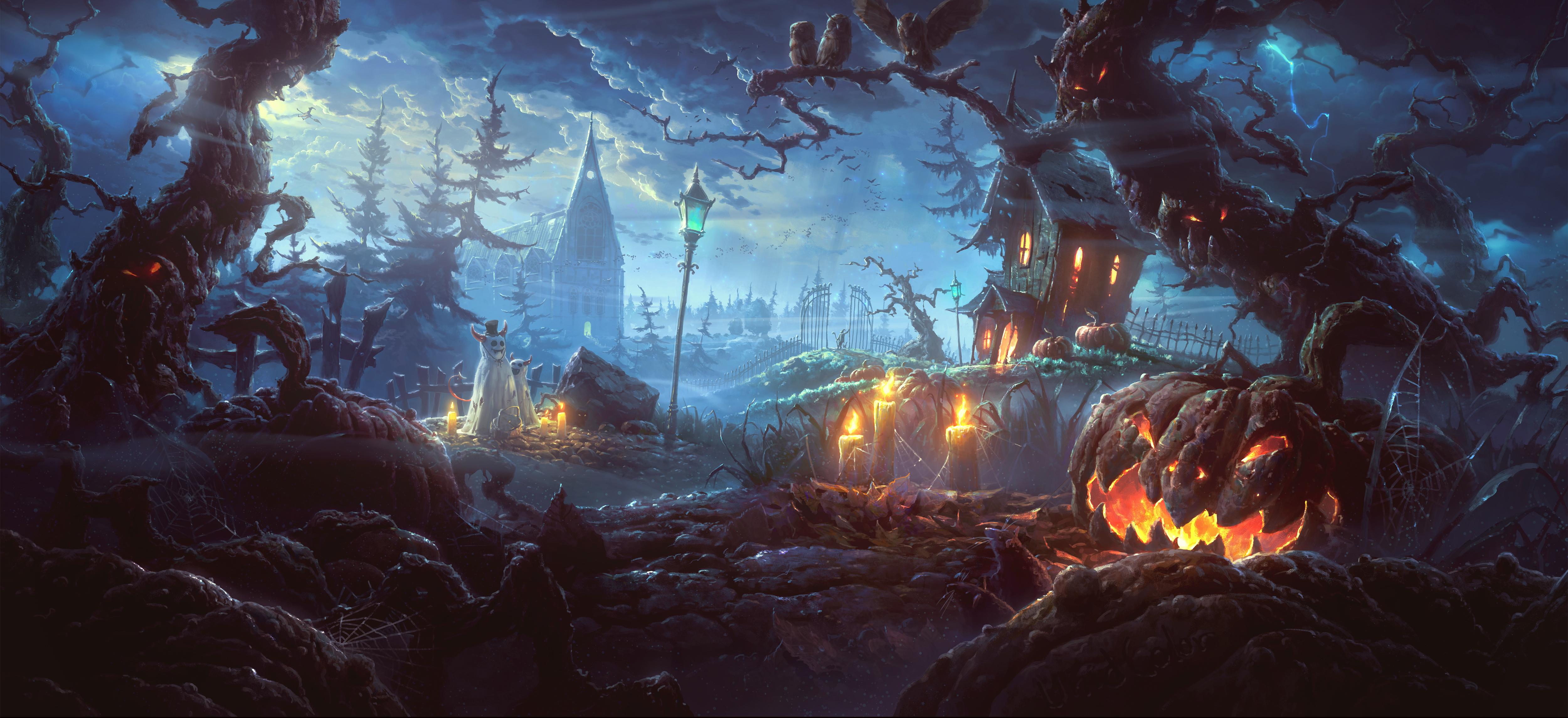Holiday Jack o lantern Village Scary Halloween Night 5000x2290