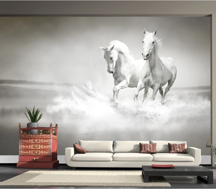 Custom photo wallpaper White Horse large murall wall paper sofa 747x656