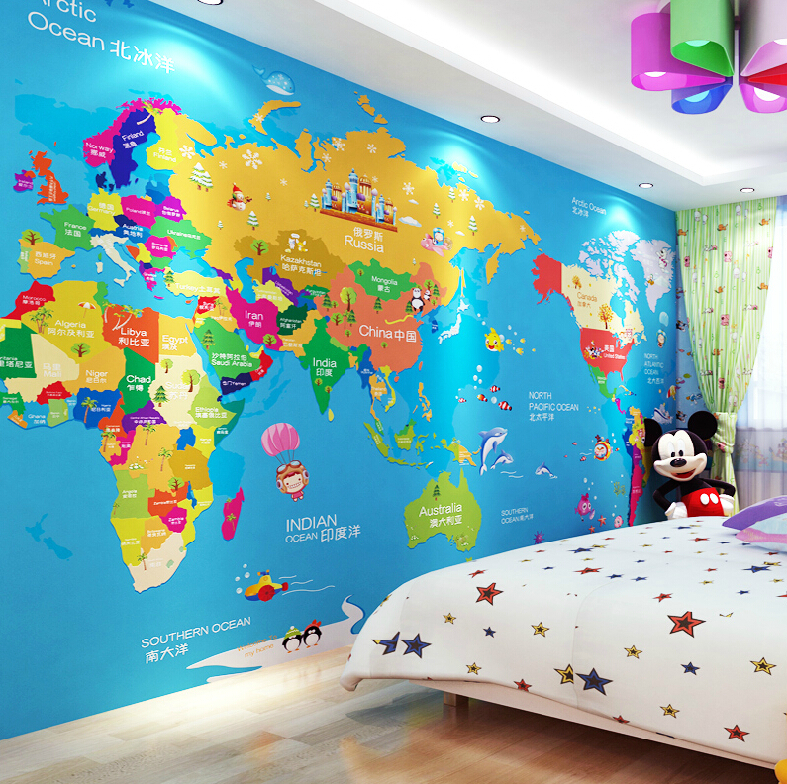 Map wallpaper roll wallpapersafari wallpaper cartoon cloth map of the world childrens educationchina gumiabroncs Image collections