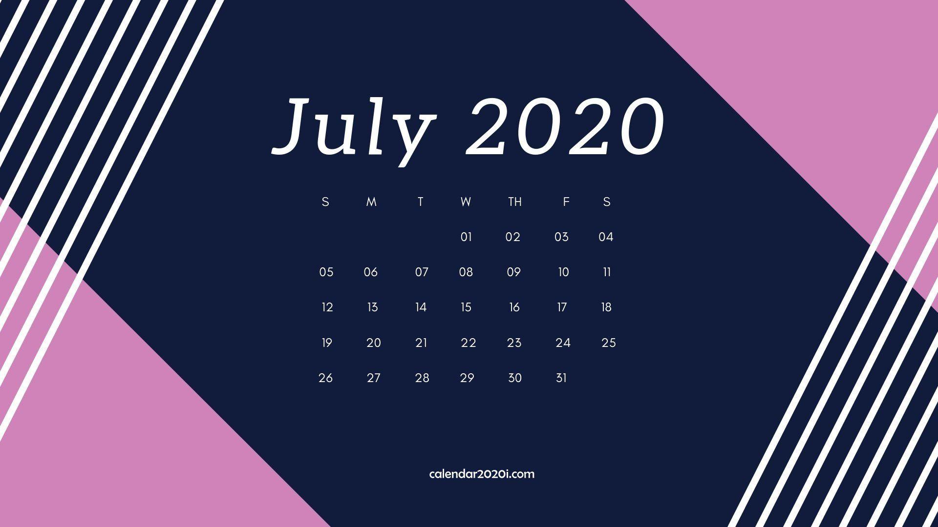 July 2020 Desktop Calendar Wallpaper 1920x1080