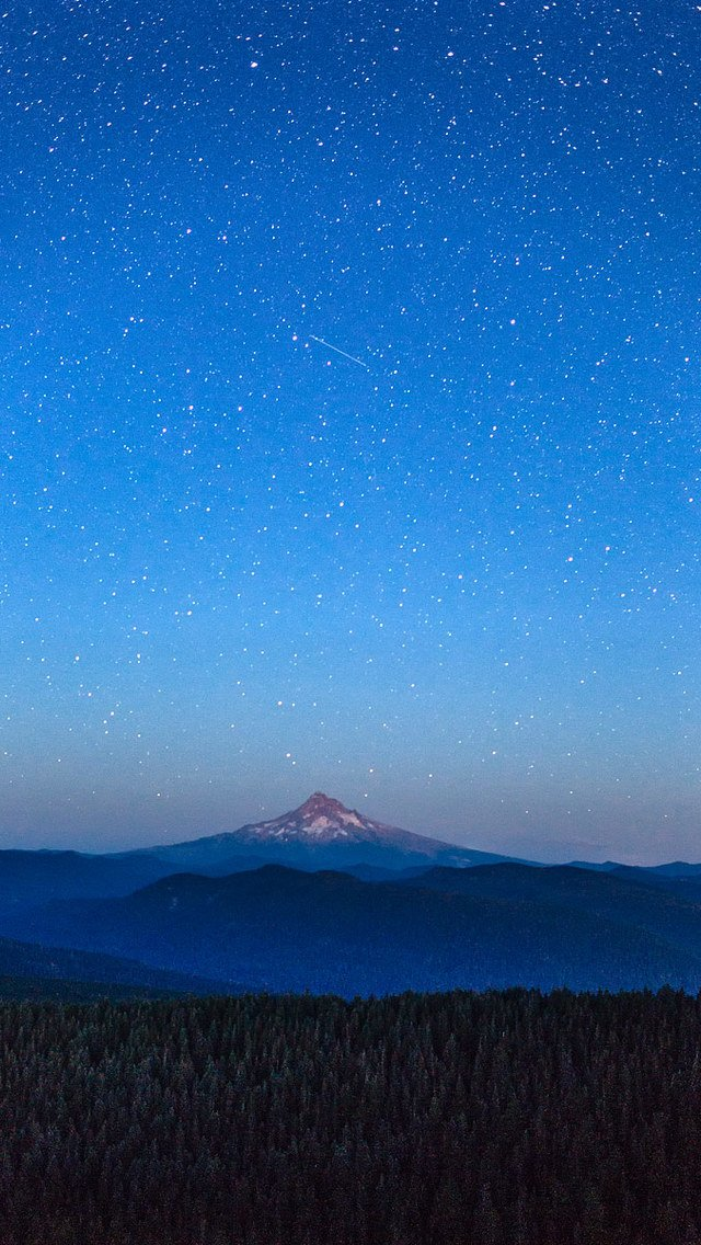 Shooting Star over Mount Hood Wallpaper for iPhone 5 640x1136