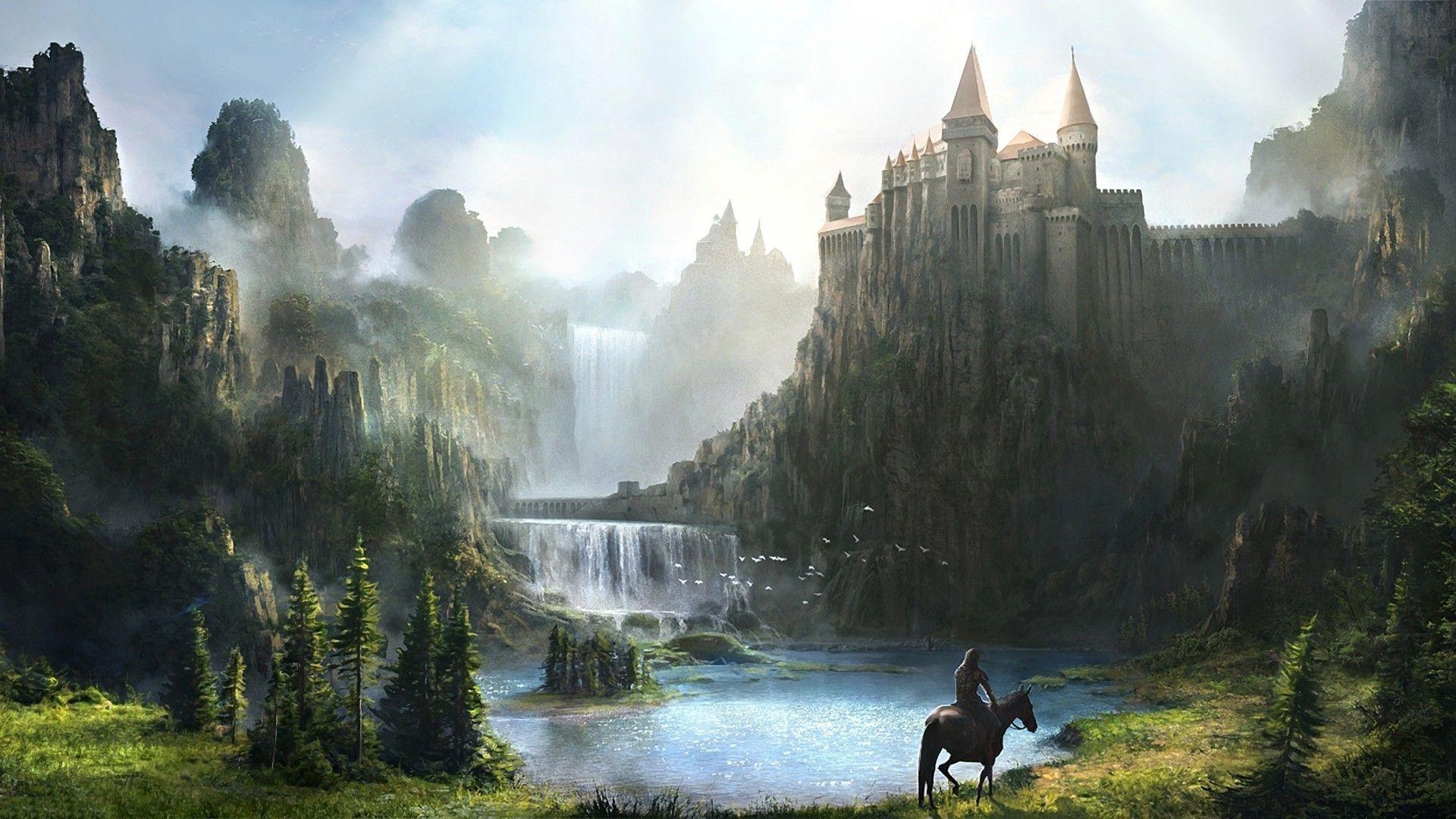 Fantasy Waterfall Castle HD Wallpapers Man Riding Horse Waterfall Lake 1920x1080