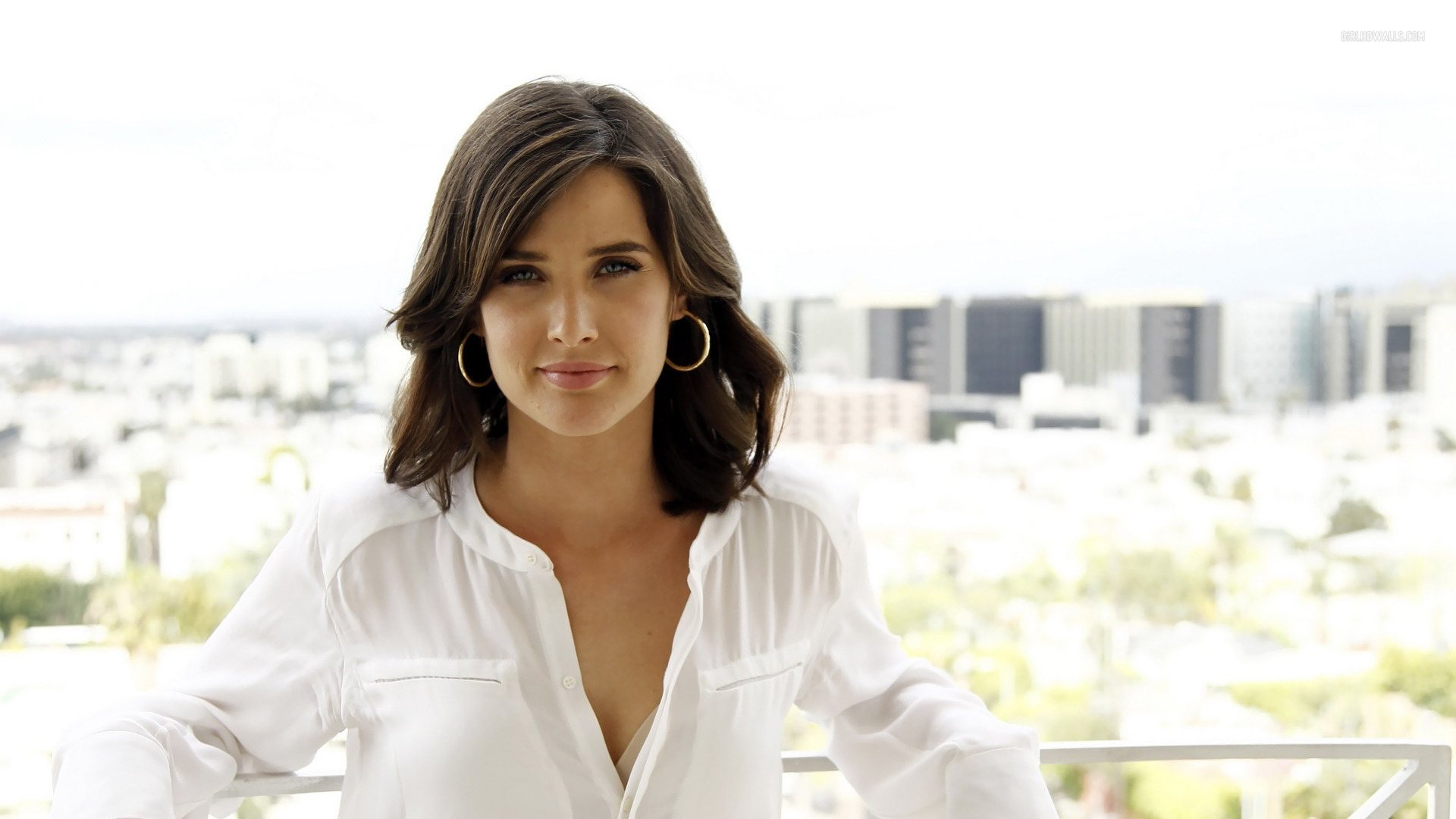cobie smulders in white shirt 1920x1080