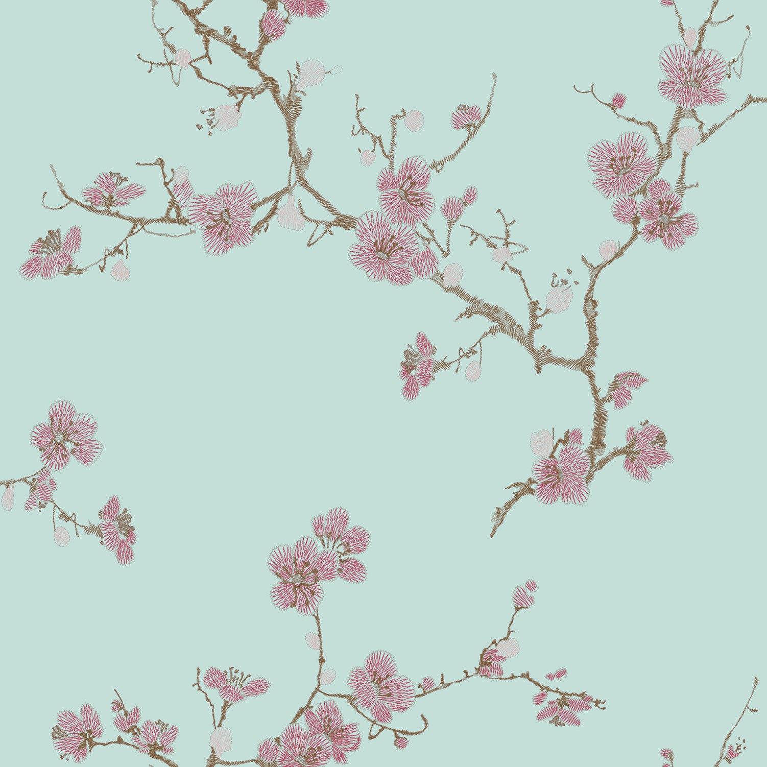 Flower Asian Style Textured Imitate Stitchwork Teal Wallpaper eBay 1502x1502