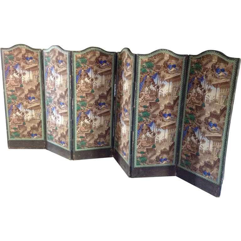 French Six Panel Wallpaper Screen For Sale at 1stdibs 768x768