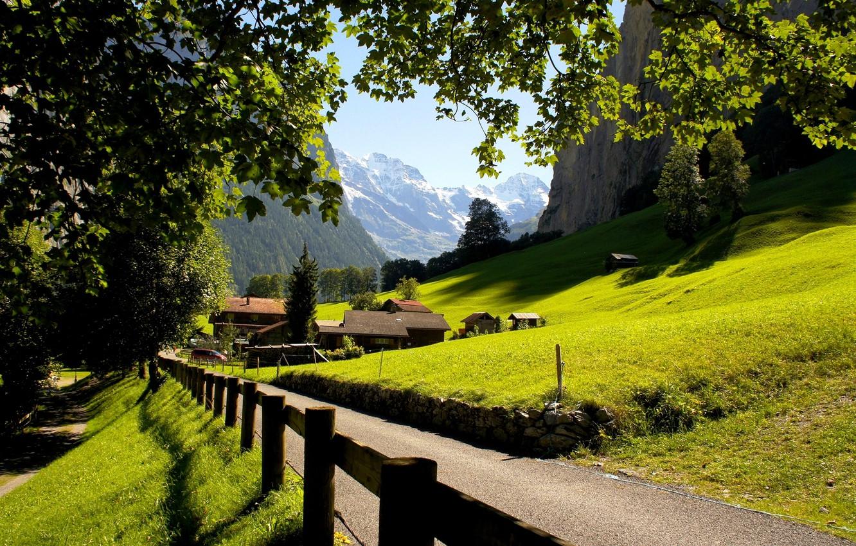 Wallpaper mountains the city Switzerland Alps Lauterbrunnen 1332x850