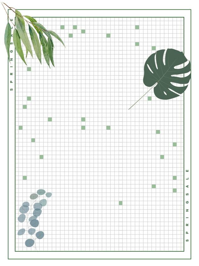 Simple Green Leaf Grid Border Background Design Grid Background 640x853