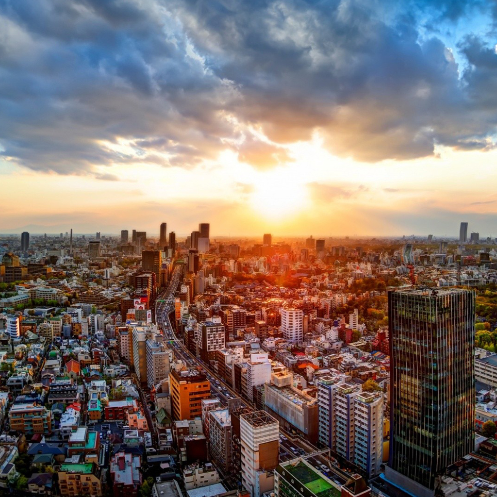 Japan Tokyo cityscapes iPad Wallpaper Download iPhone Wallpapers 1024x1024