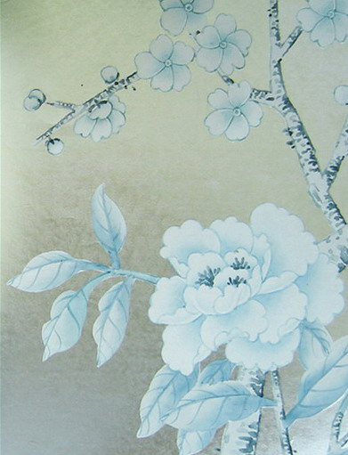 Hand Painted Silk Wallpaper   China Gold Foil Hand Painted Silk 391x511