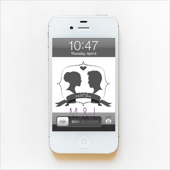 Silhouette Monogram Phone Wallpaper   The Wedding Chicks 550x550