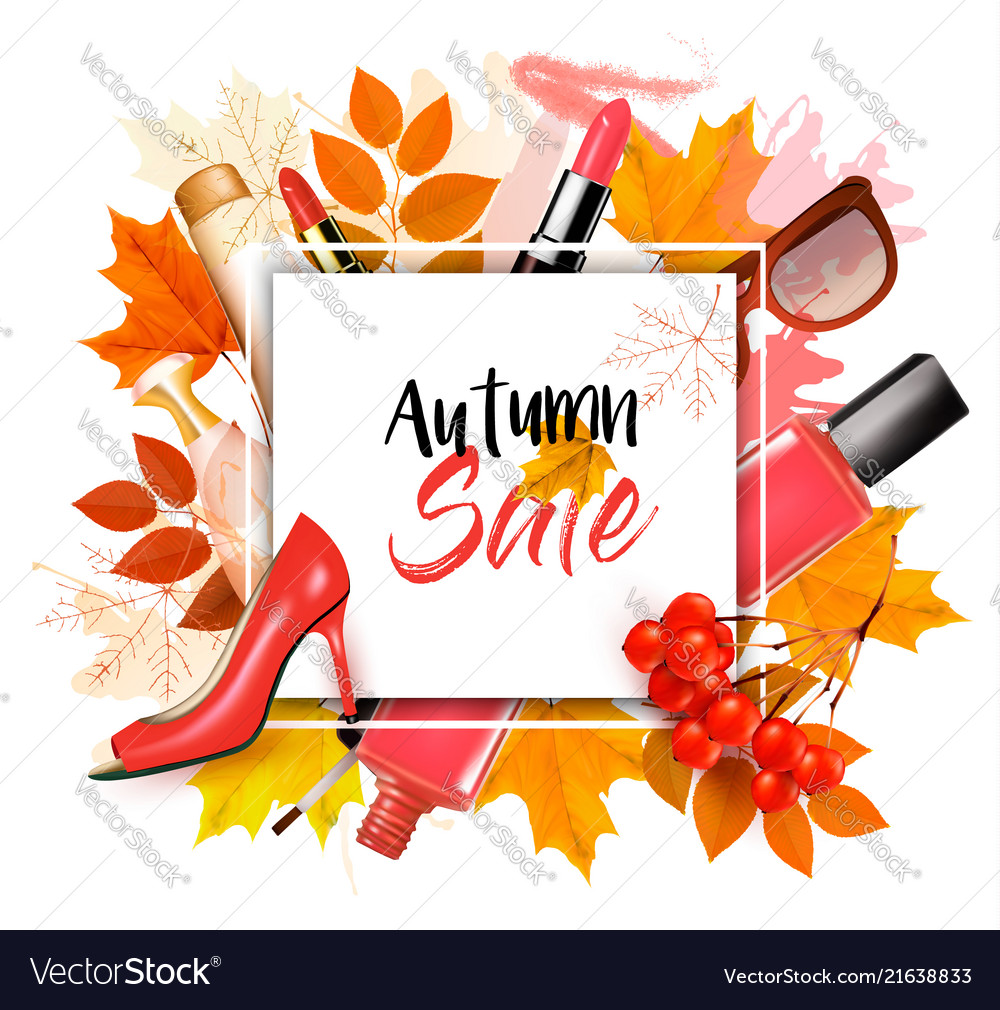 Enjoy autumn sales background with autumn leaves Vector Image 1000x1010