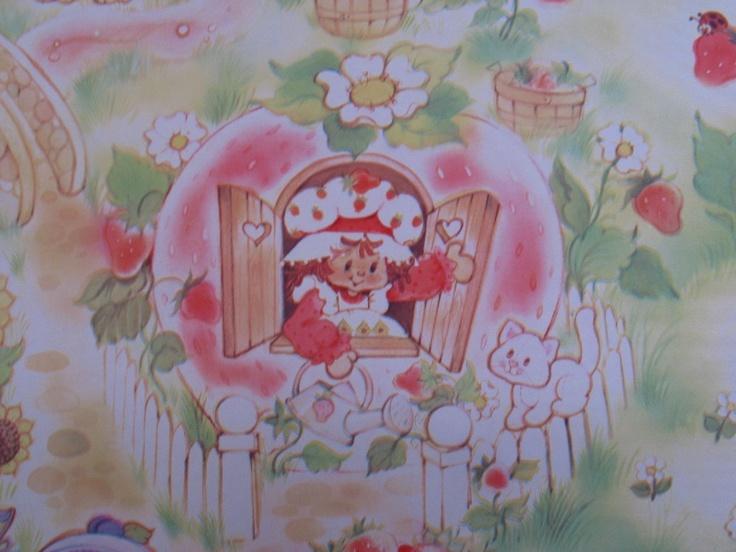 for KELLY   vintage wallpaper   strawberry shortcake   sheet 85x11 736x552