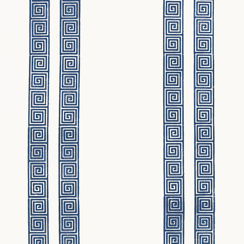 Greek Key Stripe Navy Wallpaper 960x960