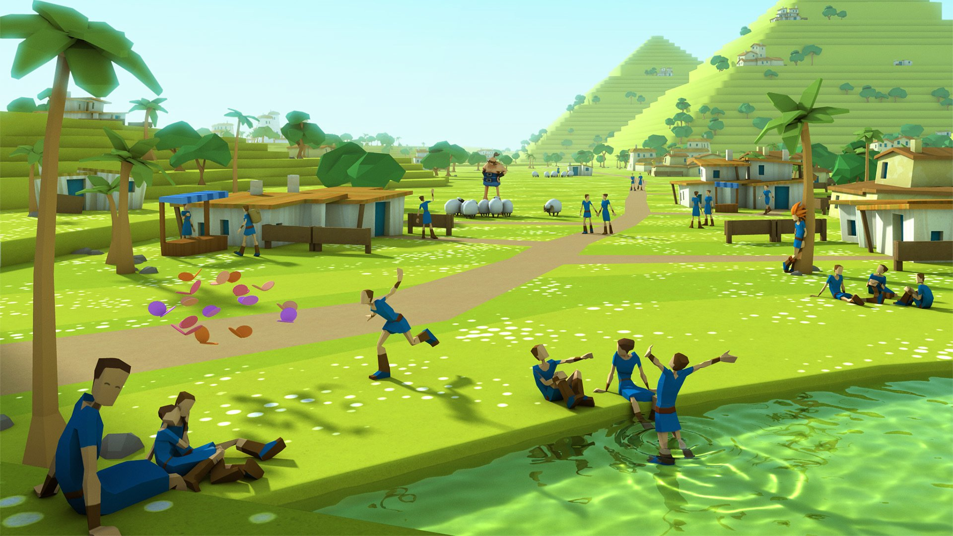 Godus Pyramids oasis by Gould58 1920x1080