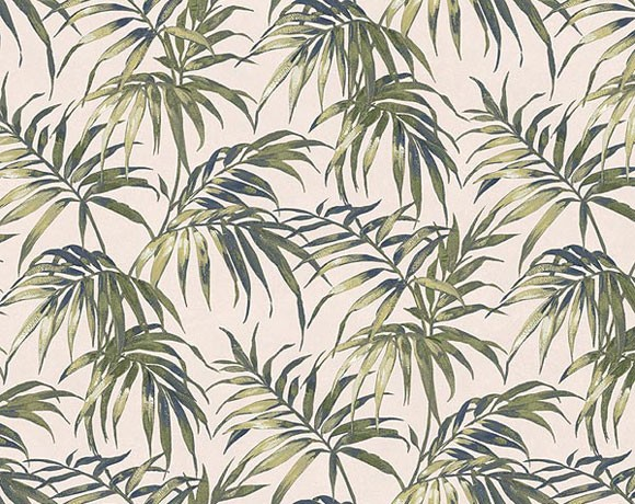 Tropical Leaf Wallpaper   White 580x460
