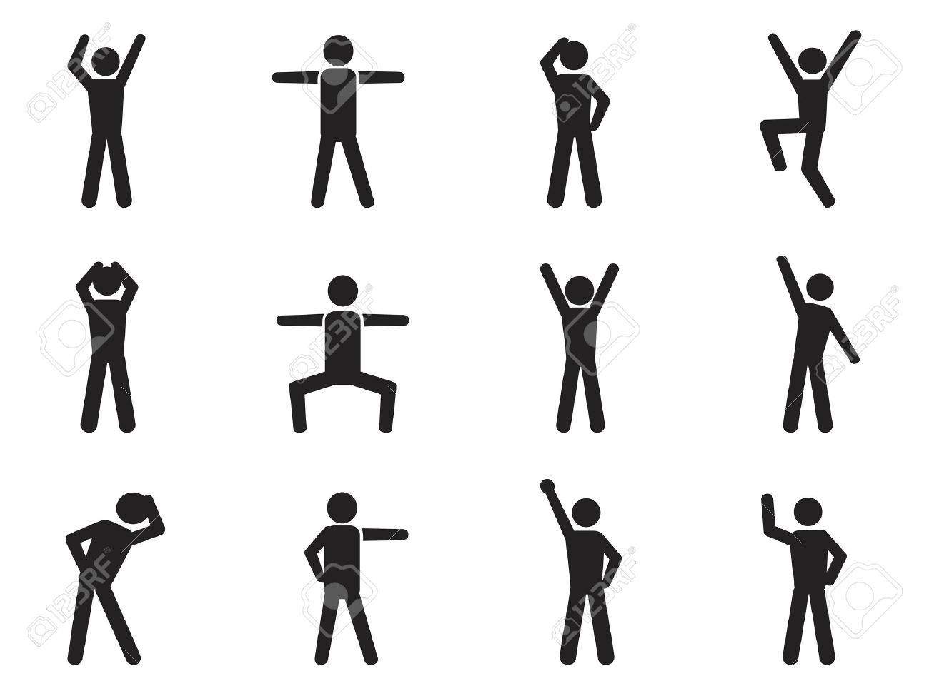 Isolated Stick Figure Posture Icons From White Background Royalty 1300x975