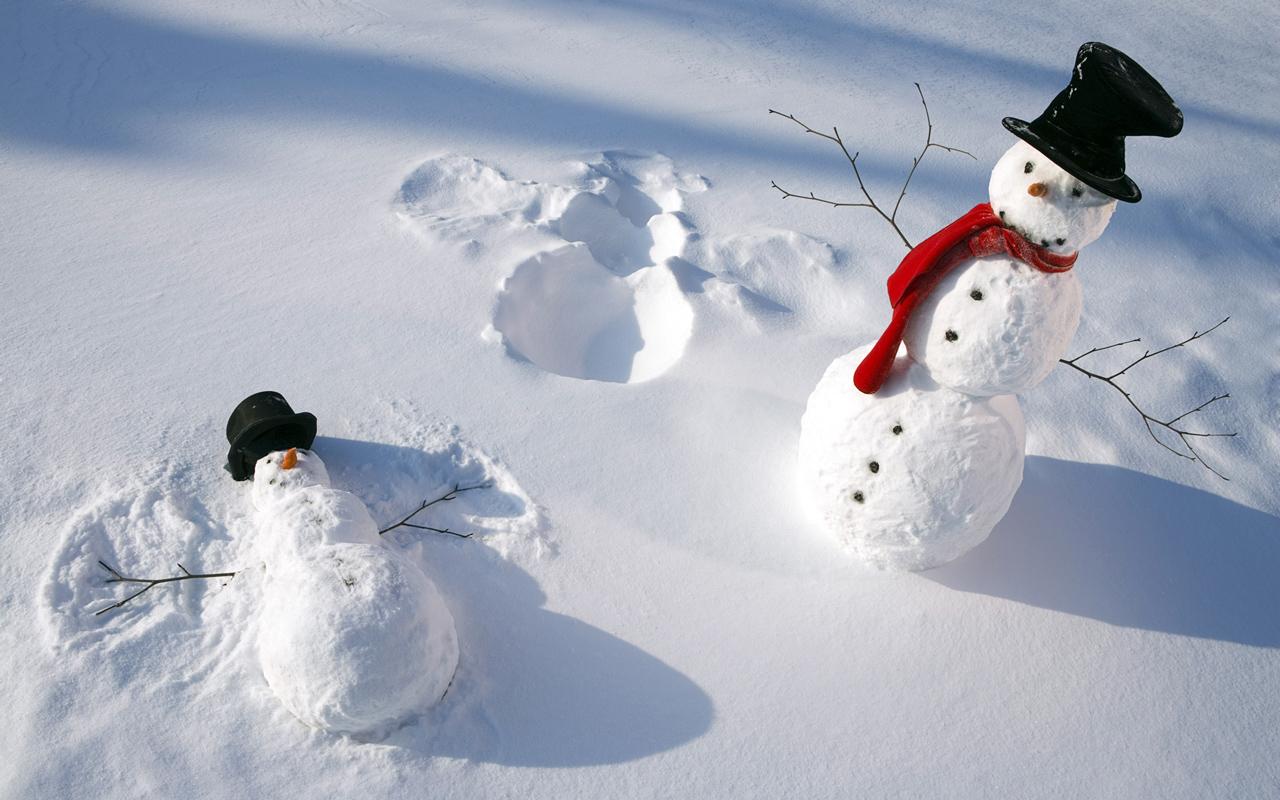 Christmas Snow Angel computer desktop wallpapers pictures 1280x800