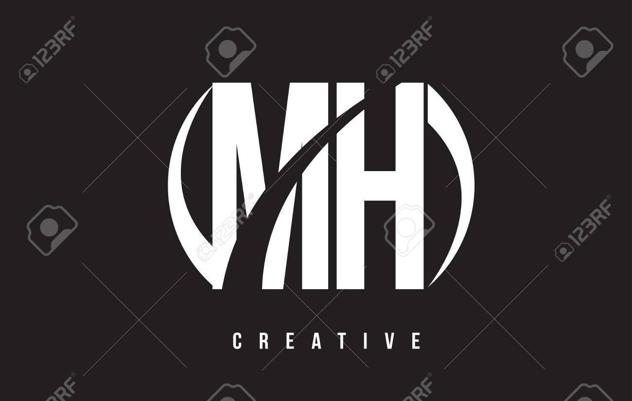 MH M H White Letter Logo Design With White Background Vector 1300x825