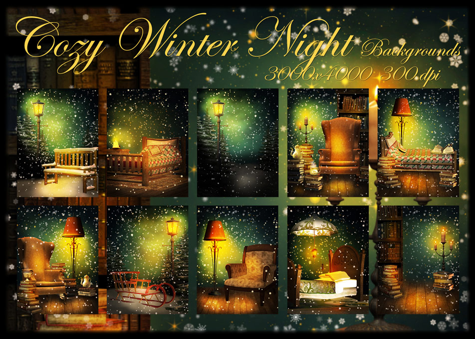Collection of 10 Cozy Winter Digital Backgrounds 952x680
