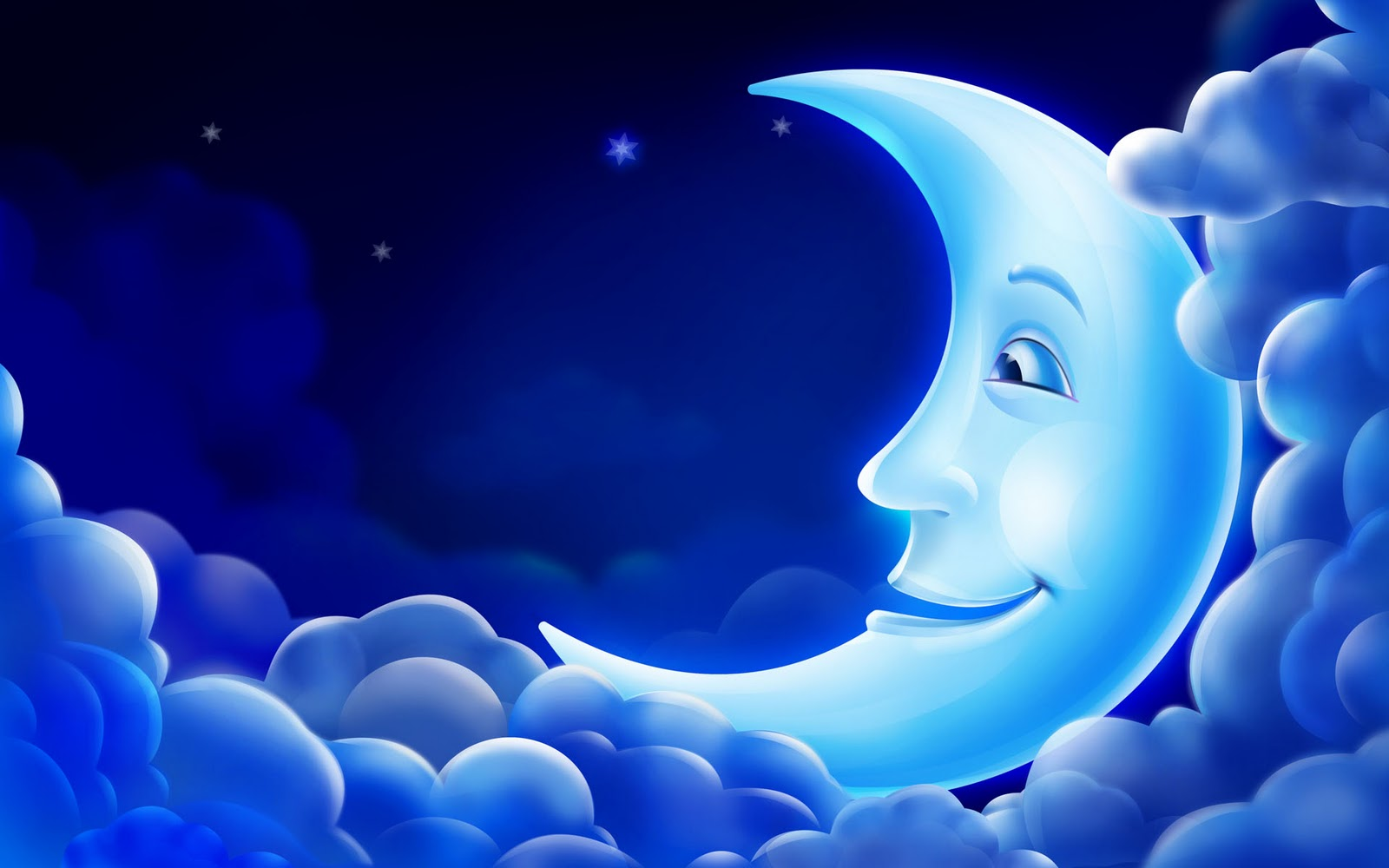 CG 3D Animation PC Background blue moon smile sky star wallpapers 1600x1000