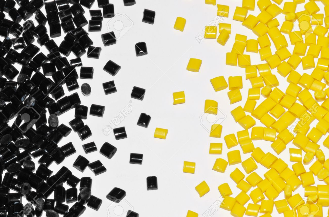 Black And Yellow Polymer Resin Together On White Background Stock 1300x861