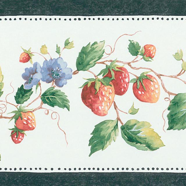 Dark Green Strawberry Border Wallpaper contemporary wallpaper 640x640