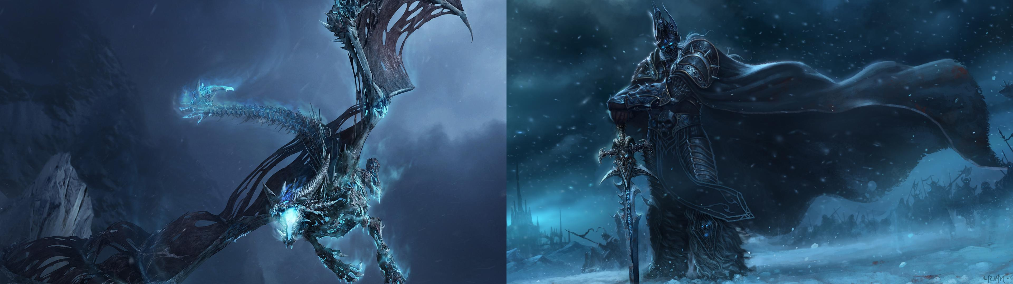 Dual Monitor Lich King Wallpaper I Threw Together [Individual Sources 3840x1080