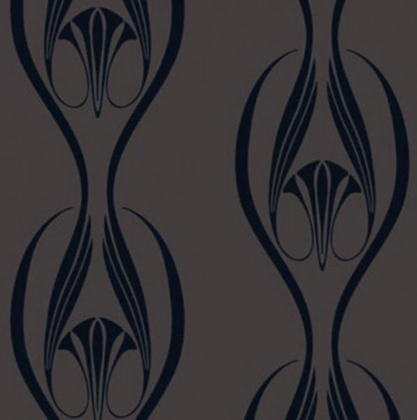 Tempaper Etta Black and Clay wallpaper by Couture Deco 596x600