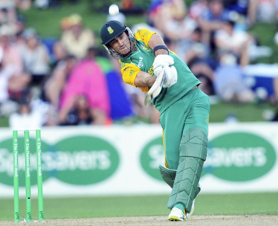 Faf du Plessis hits an aggressive shot Photo New Zealand v 900x730