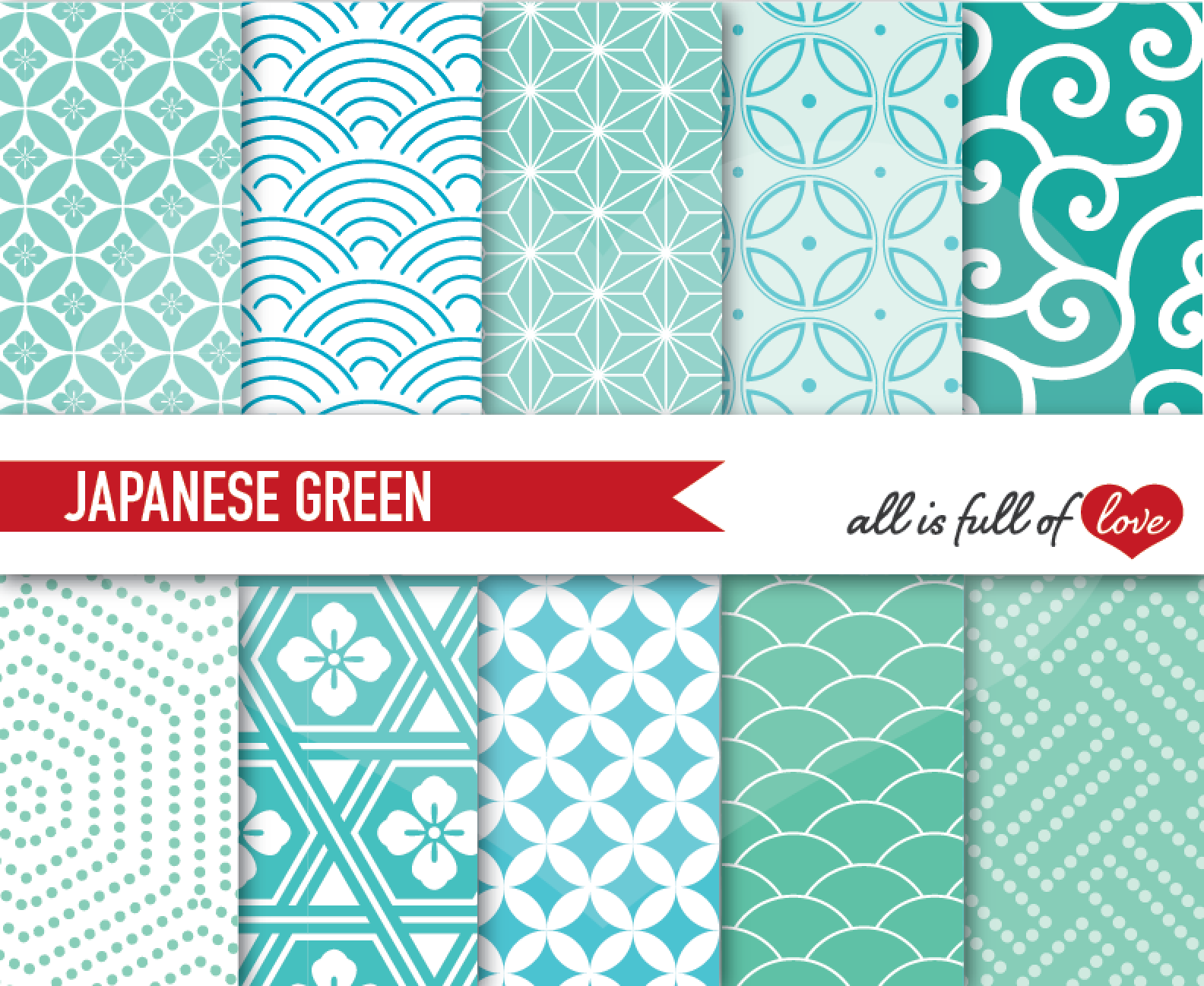 Japanese Backgrounds in Mint Green Digital Graphics Printable 1584x1298