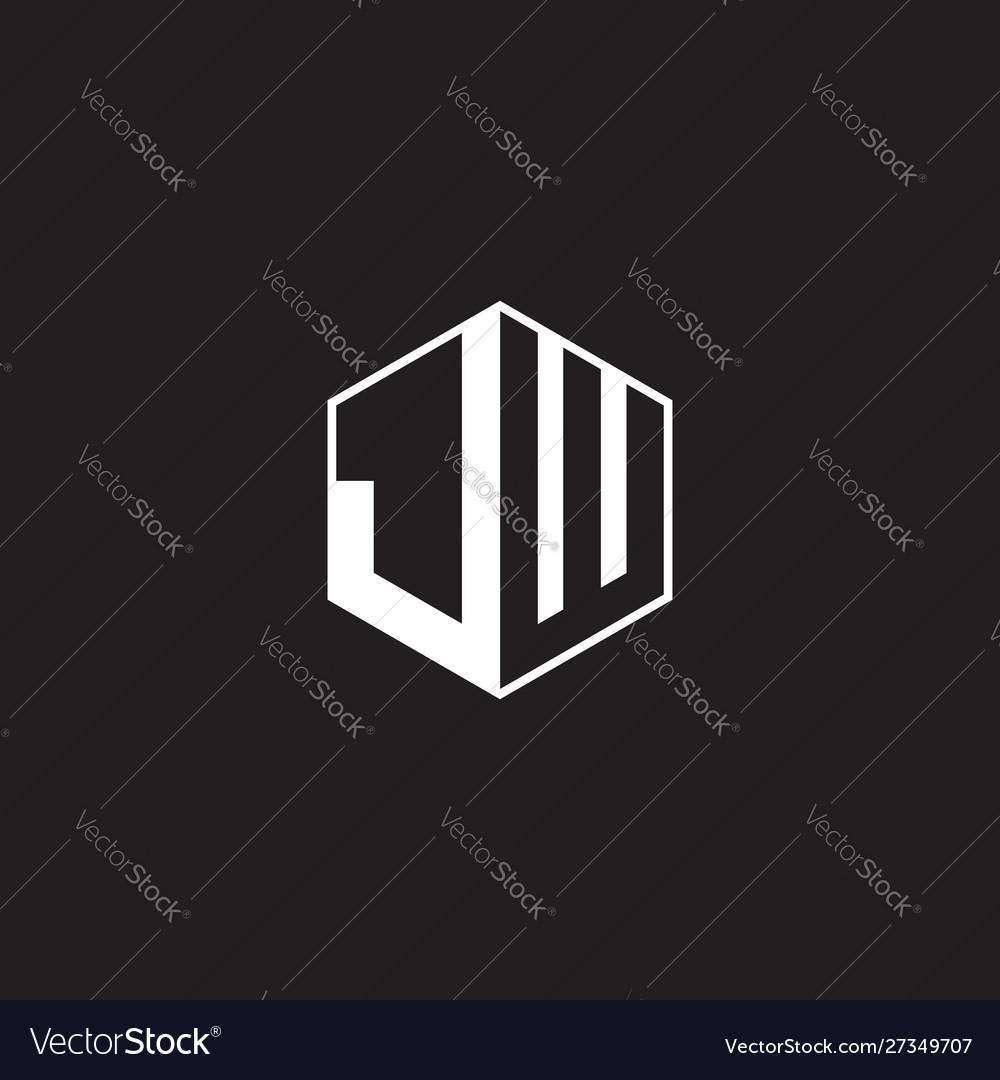 Jw logo monogram hexagon with black background Vector Image 1000x1080