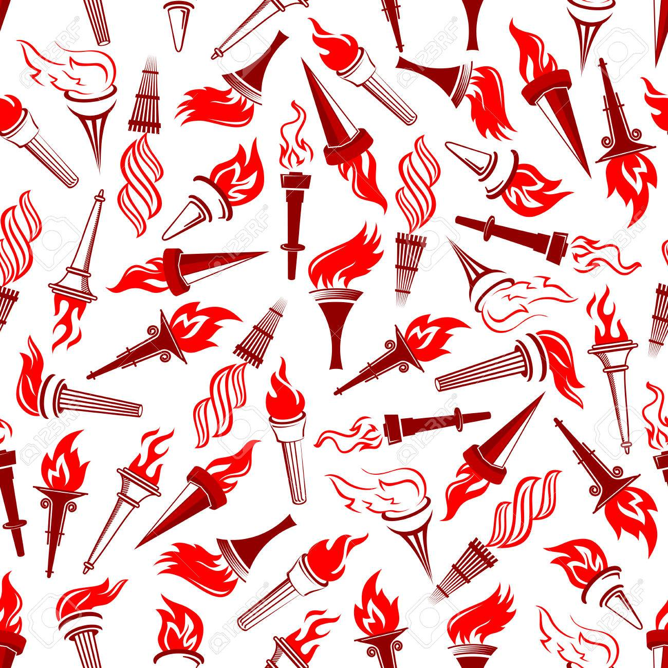 Flaming Torches Red Seamless Pattern Background Of Ancient Greek 1300x1300