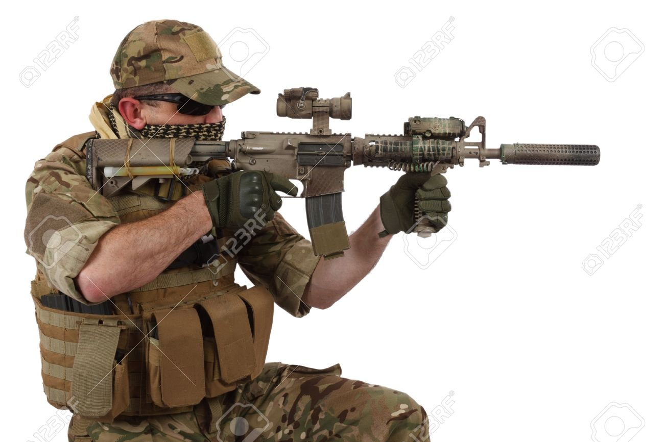 Special Forces Operator With Assault Rifle On White Background 1300x866