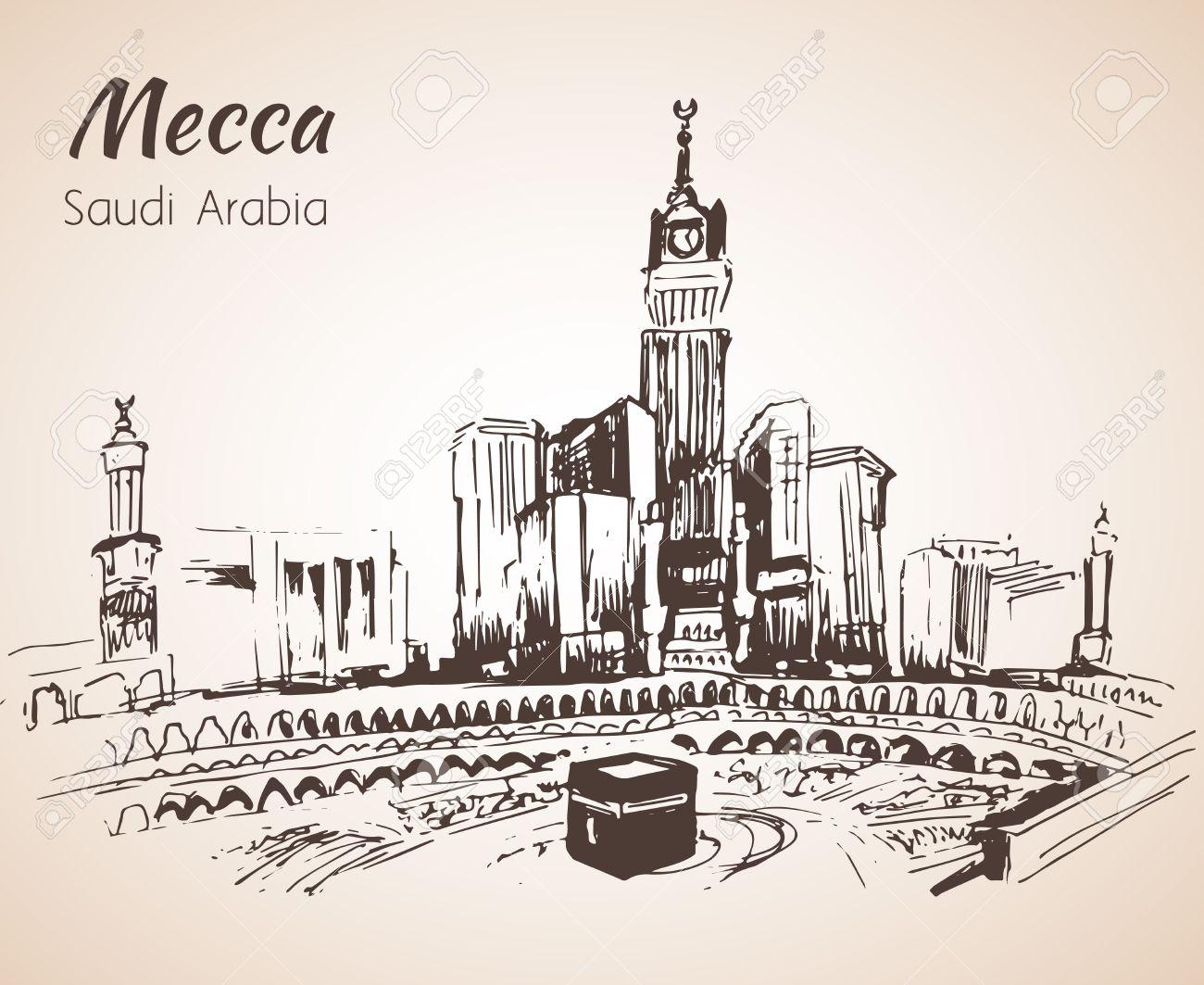 Masjid Al Haram Sketch Mecca Isolated On White Background 1300x1063