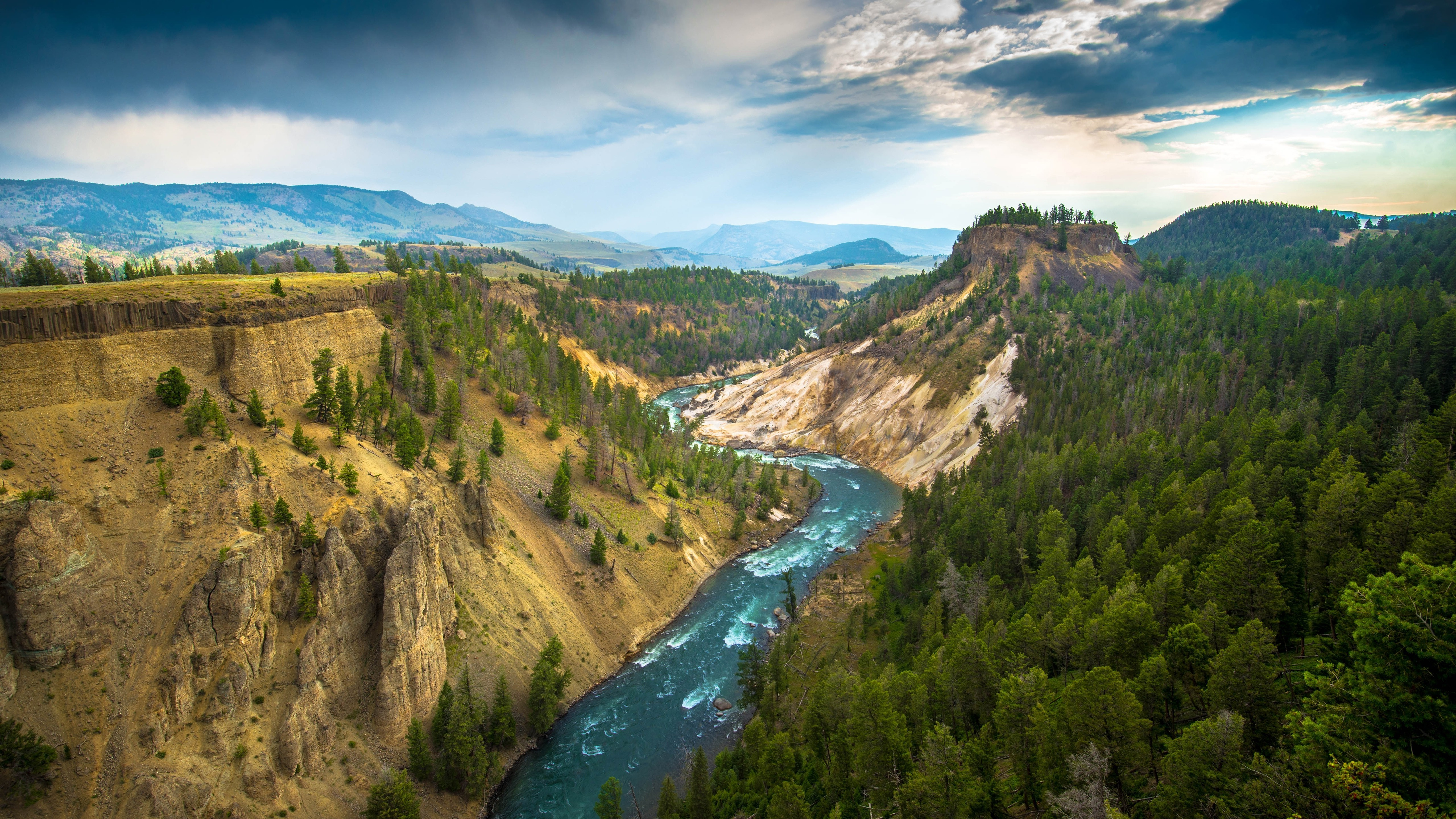 landscape Yellowstone National Park River Wallpapers HD 5120x2880
