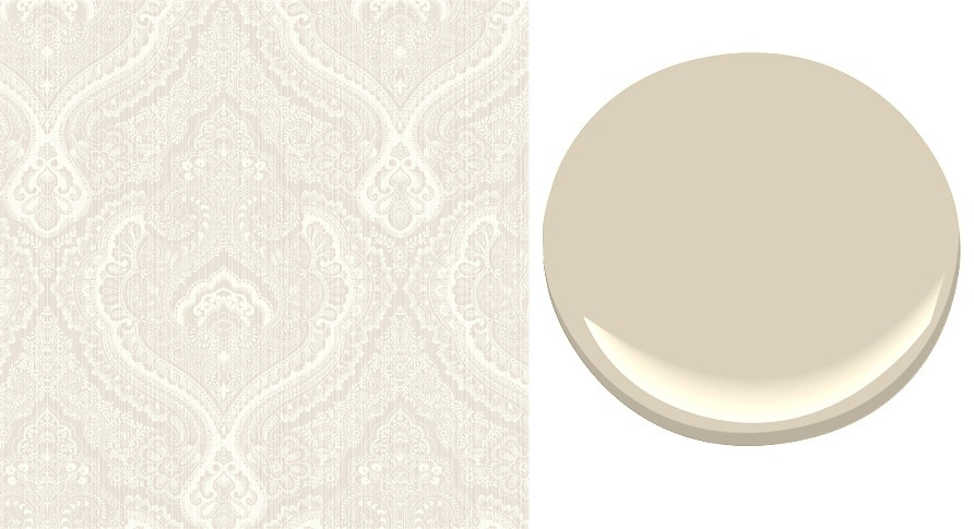 Wallcoverings matches well with Benjamin Moore Clay Beige OC 11 892x485