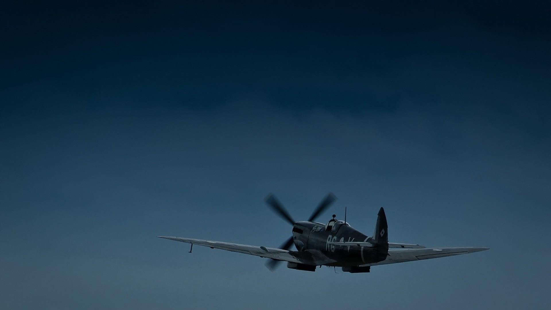 aviation supermarine spitfire twilight time of day wallpaper 1920x1080