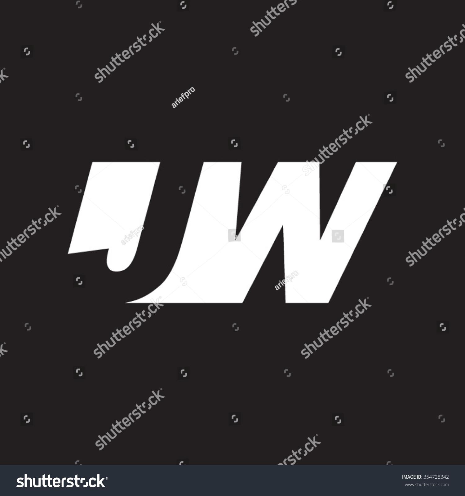 Jw Negative Space Letter Logo Black Stock Vector Royalty 1500x1600