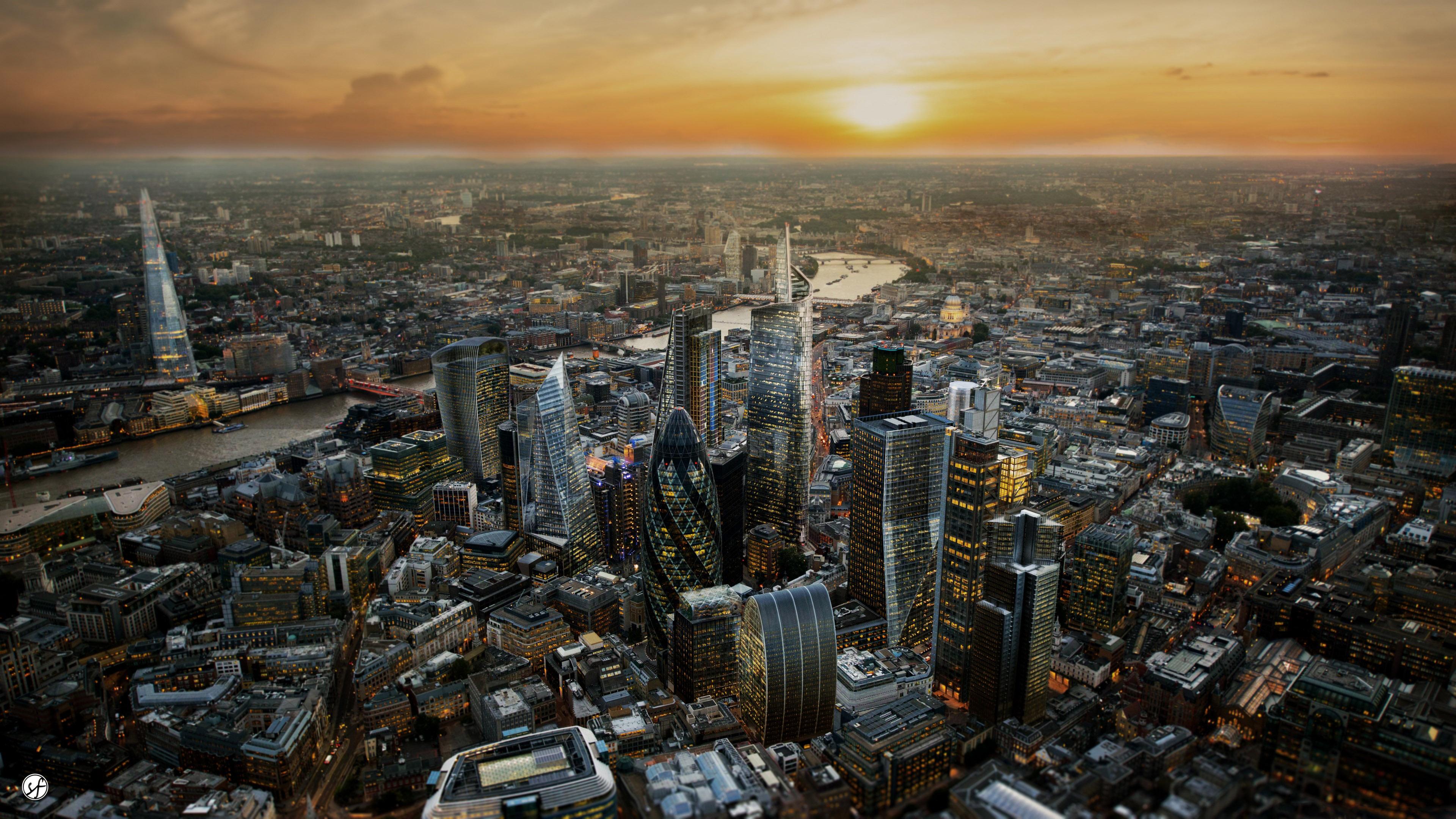London, England, United Kingdom, skyline at sunset 4K Wallpaper
