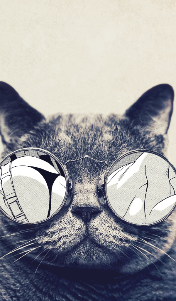 600x1024 Round Glasses Cute Cat Galaxy Tab 2 Wallpaper Pictures 600x1024