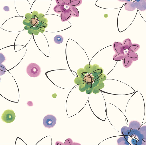 Crazy Daisy Toss Wallpaper Wallpaper Bolt transitional kids wall decor 600x611