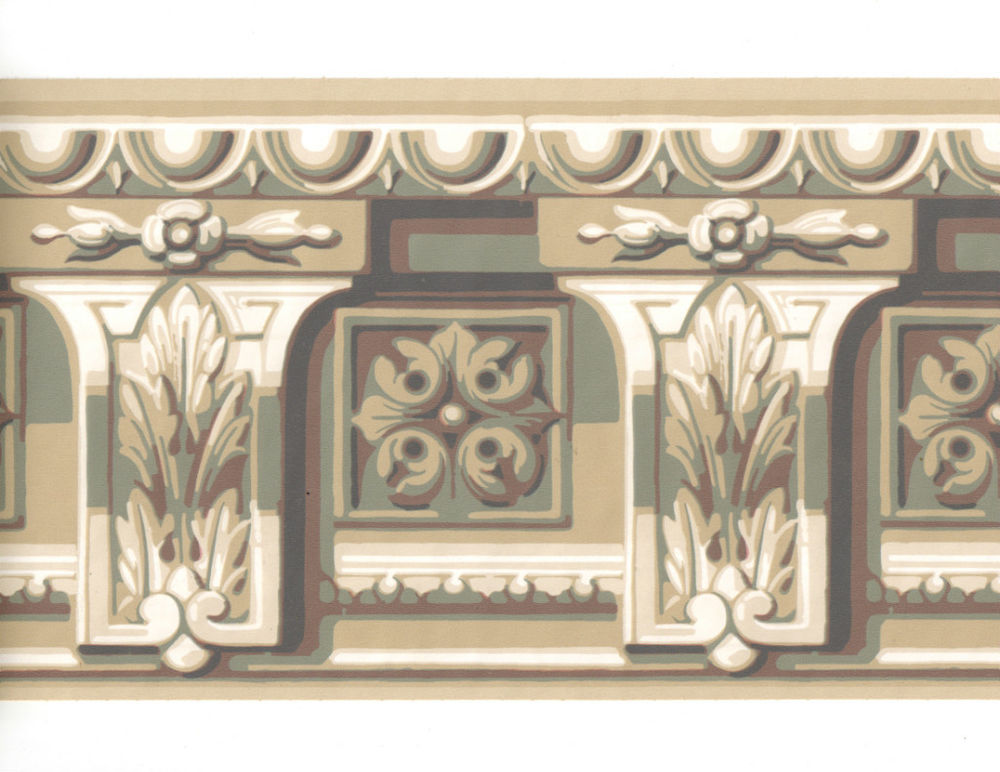 Crown Moulding Molding Cornice Corbel Blue Tan Wall Paper Border 1000x772