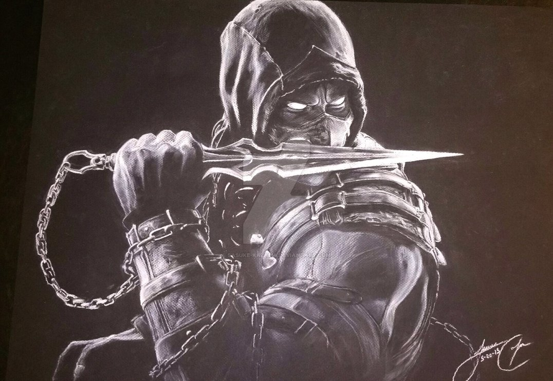 MKX Scorpion iportraitart by Sasuke Kazama 1076x742