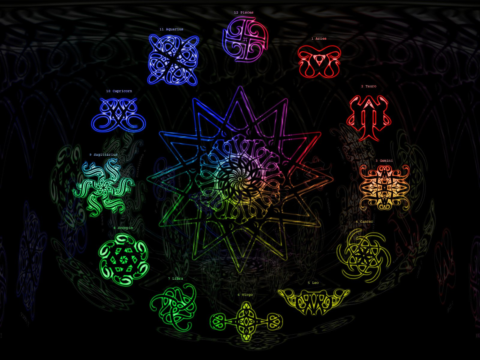 Colorful Zodiac Signs Computer Wallpaper 61293 1600x1200px 1600x1200