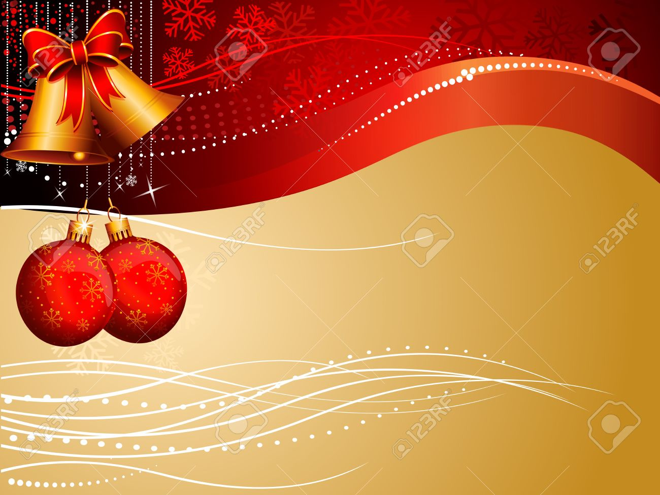 Red Background With Jingle Bell And Balls Stock Photo Picture And 1300x975