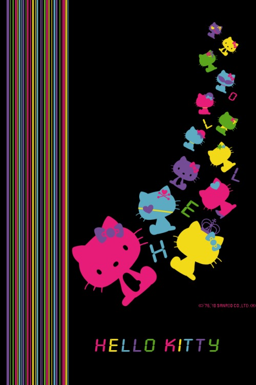 Black background Hello Kitty Phone Wallpapers Hello Kitty Wallpapers 500x750